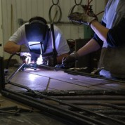 Forging the stanchion for the memorial bell to be centered at the Hague Veterans' Memorial Park